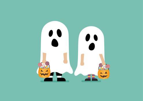 Children with pumpkin basket dressed in ghost costumes