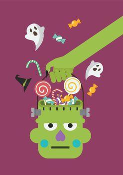 Zombie hand holding green zombie head basket