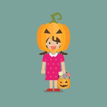 Girl with pumpkin basket wearing a pumpkin head costume