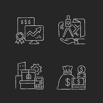 Assets management chalk white icons set on dark background