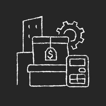 Assets management chalk white icon on dark background