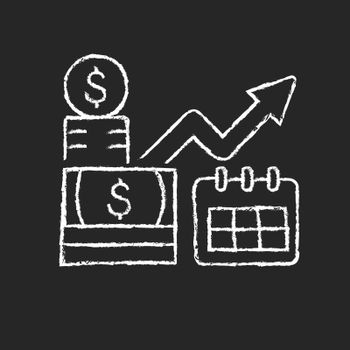 Long term investment chalk white icon on dark background