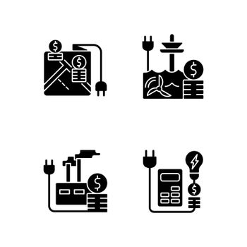 Electrical energy purchase expense black glyph icons set on white space