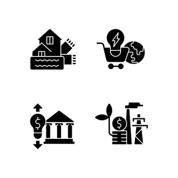 Renewable electrical energy black glyph icons set on white space
