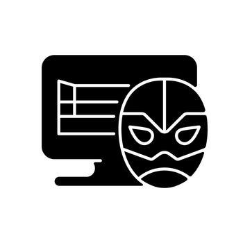 Online wrestling games black glyph icon