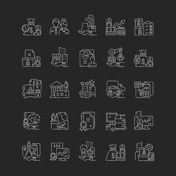 Business assets chalk white icons set on dark background