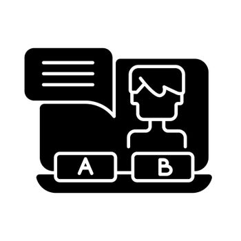 Visual novel black glyph icon