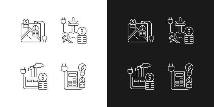 Electrical energy purchase expense linear icons set for dark and light mode