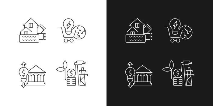 Renewable electrical energy linear icons set for dark and light mode