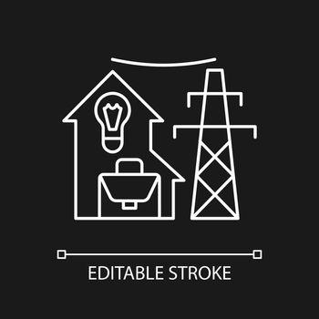 Electric utility white linear icon for dark theme