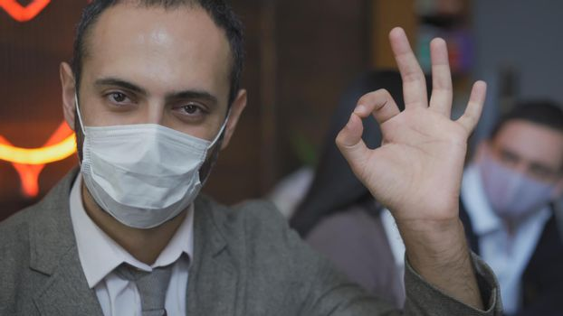 Business man In Protective Mask Working During Epidemic
