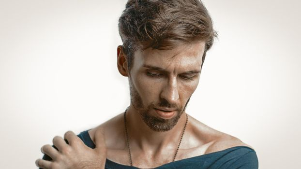Handsome Pensive Man Looking Down Cut Out On White