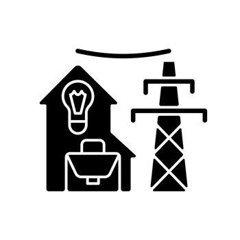 Electric utility black glyph icon