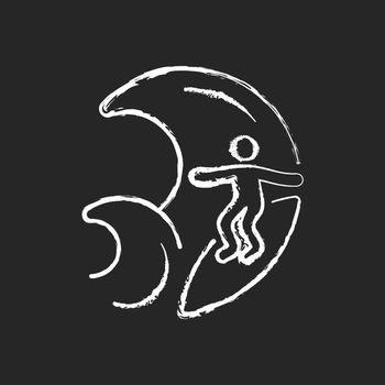 Big wave surfing chalk white icon on dark background