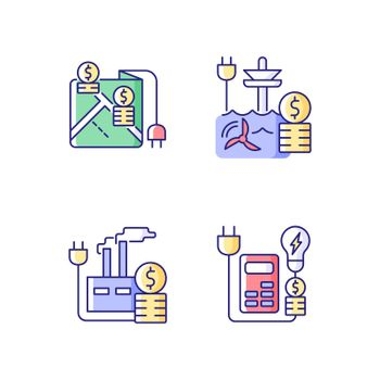 Electrical energy purchase expense RGB color icons set