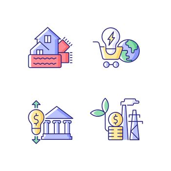 Renewable electrical energy cost RGB color icons set