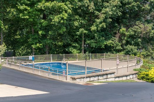 Community swimming pool in summer with nobody using it