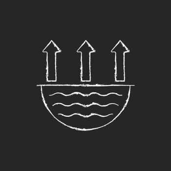 Water evaporation issue chalk white icon on dark background