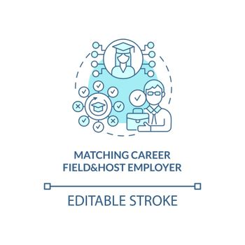 Matching career field and host employer concept icon