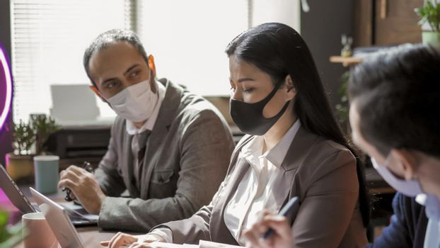 Teamwork In Office During Coronavirus Epidemic