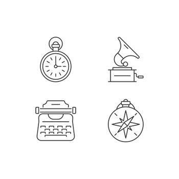 Old-fashioned items linear icons set