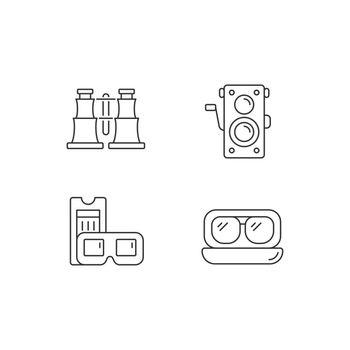 Authentic vintage linear icons set