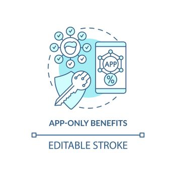 App-only benefits blue concept icon