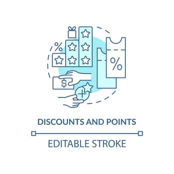 Discounts and points blue concept icon