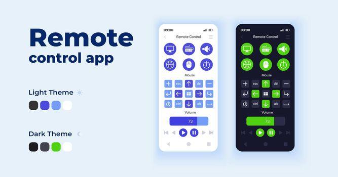 Remote control app cartoon smartphone interface vector templates set