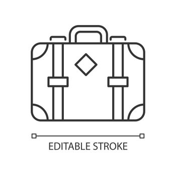 Old-fashioned style suitcase linear icon