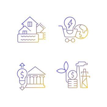 Renewable electrical energy gradient linear vector icons set