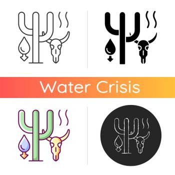 Extreme drought causing animals extinction icon