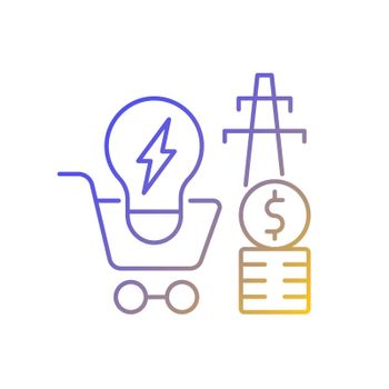 Electricity demand gradient linear vector icon
