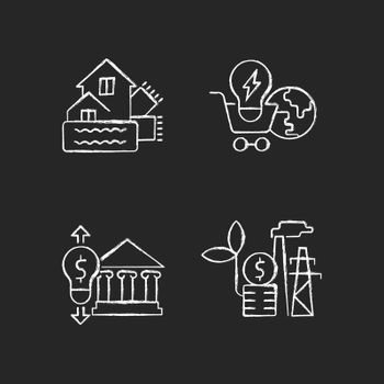 Renewable electrical energy cost chalk white icons set on dark background