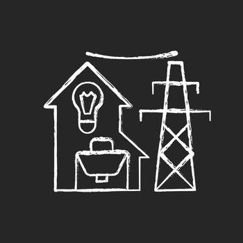 Electric utility chalk white icon on dark background