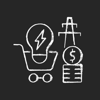 Electricity demand chalk white icon on dark background
