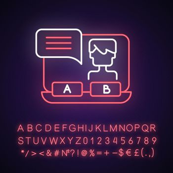 Visual novel neon light icon