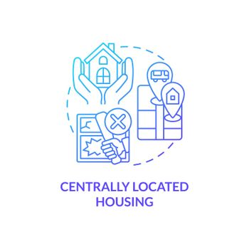 Centrally located housing concept icon