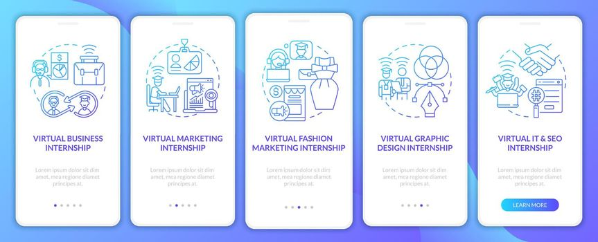 Top distant internship areas onboarding mobile app page screen