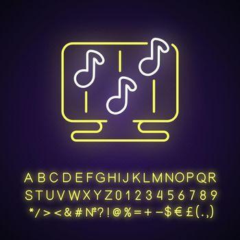 Rhythm games neon light icon
