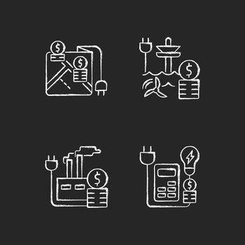 Electrical energy purchase expense chalk white icons set on dark background
