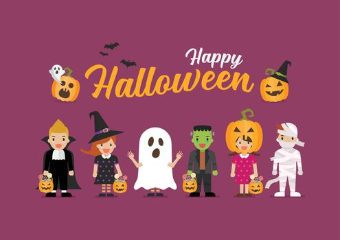 Happy Halloween children in scary different costumes