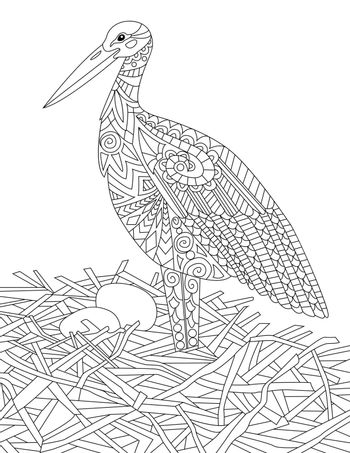Nesting Bird Standing Guarding Two Eggs Colorless Line Drawing. Feathered Creature Stands On Nest Caring For Egg Coloring Book Page.