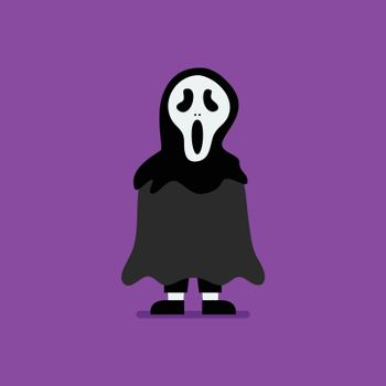 Boy dressed in scary ghost costume