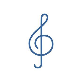Treble clef vector icon. Music sign