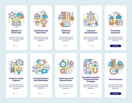Reward system for customers onboarding mobile app page screen set