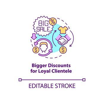 Bigger discounts for loyal clientele concept icon