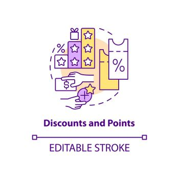 Discounts and points concept icon