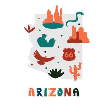 USA map collection. State symbols on gray state silhouette - Arizona