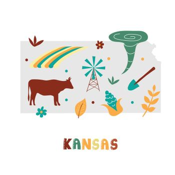 USA map collection. State symbols on gray state silhouette - Kansas